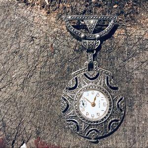 Vintage sterling marcasite medal hanging watch pin